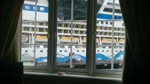 Ausblick mit Schiff auf Fjord
